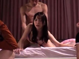 Japanese OL group oral sex orgasm creampie